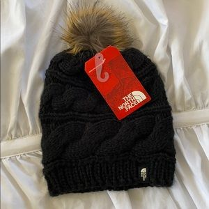 North Face beanie with fur Pom